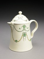 Large creamware chocolate pot of truncated cone shape with a small beak-shaped spout and indented loop handle, the body decorated in shades of green and brown with entwined garlands of husk ornaments, the unusual, rare double cover similarly decorated and with a ball finial highlighted with a pink floral element.