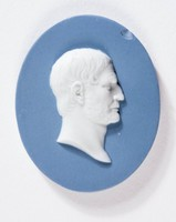 Oval blue jasper medallion with white relief profile portrait of Brutus