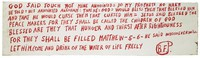 Horizontal white painted board with Bible verses and explanations in red lettering