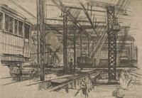 This image is created with black ink on paper. It shows the interior of a rail car barn, with a rail car raised on pillars at the left of the image and rail cars in the background of the car barn. Figures sit and stand throughout the foreground on platforms and rails.