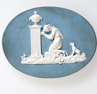 Oval blue jasper medallion with white relief scene of Charlotte at the tomb of Werther