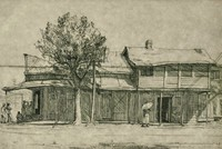 This image is created with black ink on paper. It shows the side of a building. A group of people congregate outside of the buildings entrance—which is partially obscured from view—while a woman with an umbrella walks toward an open side door, in front of which two individuals stand. The two story building has an enclosed balcony on its rear half and an overhanging portico. A tree and a power pole stand between the viewer and the side of the building.