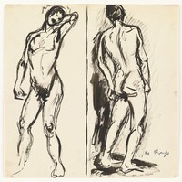 Sketch of two figures divided through the center by a black line. The figure on the left stands facing forwards with his left arm behind his head. The figure on the right stands facing backwards, slightly leaning to the left.