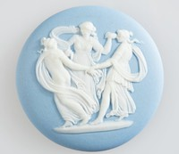 Round blue jasper cameo with white relief scene, set in very heavy brass frame with ring