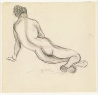 Sketch of a nude figure. Seen from the backside, the figure sits on his left side, propping himself up with his left arm. His head is bent slight down.