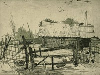 This image is created with black ink on white paper. In the foreground of the image a fenced pig sty contains four pigs. Within the pig sty is a wagon, which stands to the left of a board building with a shingle roof. Scattered trees stand behind the pig sty and building and birds fly above.