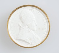 Plaster cast of Papal medallion, Pope Pius VII (1742-1823), born Barnaba Niccolò Maria Luigi Chiaramonti, reigned as Pope from 14 March 1800 to his death in 1823. Chiaramonti was also a monk of the Order of Saint Benedict in addition to being a well known theologian and bishop throughout his life.