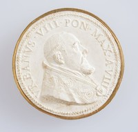 Papal medallion cast, Pope Urban VIII (1568-1644), reigned as pope from 6 August 1623 to his death in 1644. He expanded the papal territory by force of arms and advantageous politicking, and was also a prominent patron of the arts and a reformer of Church missions. However, the massive debts incurred during his pontificate greatly weakened his successors, who were unable to maintain the papacy's longstanding political and military influence in Europe. He was also involved in a controversy with Galileo and his theory on heliocentrism during his reign. He is the most recent pope to date to take the pontifical name of Urban upon being elected as pope.