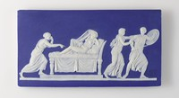 Rectangular plaque of white jasper with dark blue jasper dip on the front and the back, with in white relief a scene from the life of Achilles that includes four figures, one of which reclines on a daybed, and one (Achilles) holds a shield and sword.