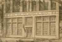 """This image is created with black ink on yellowed paper. It represents the façade of """"The Bank for Savings & Trusts."""" In the lower eighth of the image, there is an empty sidewalk and a small portion of the street."""