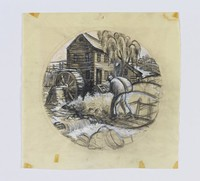 """Compositional study by Clare Leighton for Wedgwood plate design """"Grist Milling"""" from the """"New England Industries"""" series"""
