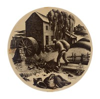 """Decal transfer for Wedgwood plate designed by Clare Leighton, """"Grist Milling"""" from the """"New England Industries"""" series"""