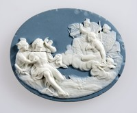 Oval blue medallion with white relief scene of the Judgement of Paris, several chips and cracks,