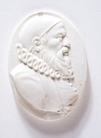 Oval medallion with profile portrait of an unidentified man probably a cardinal.