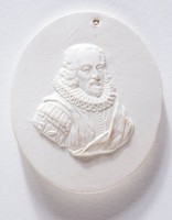 Oval medallion with profile portrait of Viscount St. Albans, Francis Bacon (1561-1626). Francis Bacon was an English philosopher, lawyer and politician. Born in London, the son of Sir Nicholas Bacon. He went to Trinity College, Cambridge in 1573, and was called to be the Bar in 1582. He was elected member of Parliament in 1584, became Solicitor-General in 1607, and Attorney-General in 1613. He was raised to the peerage as Lord Verulam in 1618 and created Viscount St Albans in 1621. He is still today a famous philosopher known for his work the Novum Orgamum. He was found guilty of taking bribes from litigants and imprisoned in the Tower and banished from Parliament and the great court.