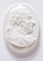 Oval medallion with profile portrait of Jean-Francois Marmontel (1723-1799), French writer and dramatist, born in the Limousin region (noe Haute Vienne). Educated at the Jesuit college at Mauriac. Marmontel became a teacher of philosophy at the Bernardine seminary at Toulouse. He attracted the notice of Voltaire, who advised him to go to Paris where he arrived in 1745. A tragedy produced in 1747 at once gave him celebrity. An introduction to Madame de Pompadour brought him the place of secretary to her brother, the Marquis de Marigny. Marmontel frequented the salon of Madame Geoffrin, and after the death of his friend, Boissy, he was given the Mercure de France. After a great deal of opposition Marmontel was elected to the Academy in 1763, and in 1783 was appointed Secretary and historiographer of France. He retired to Normandy at the outbreak of the revolution, dying there in 1799.  This model comes from an unsigned engraving dated 1765