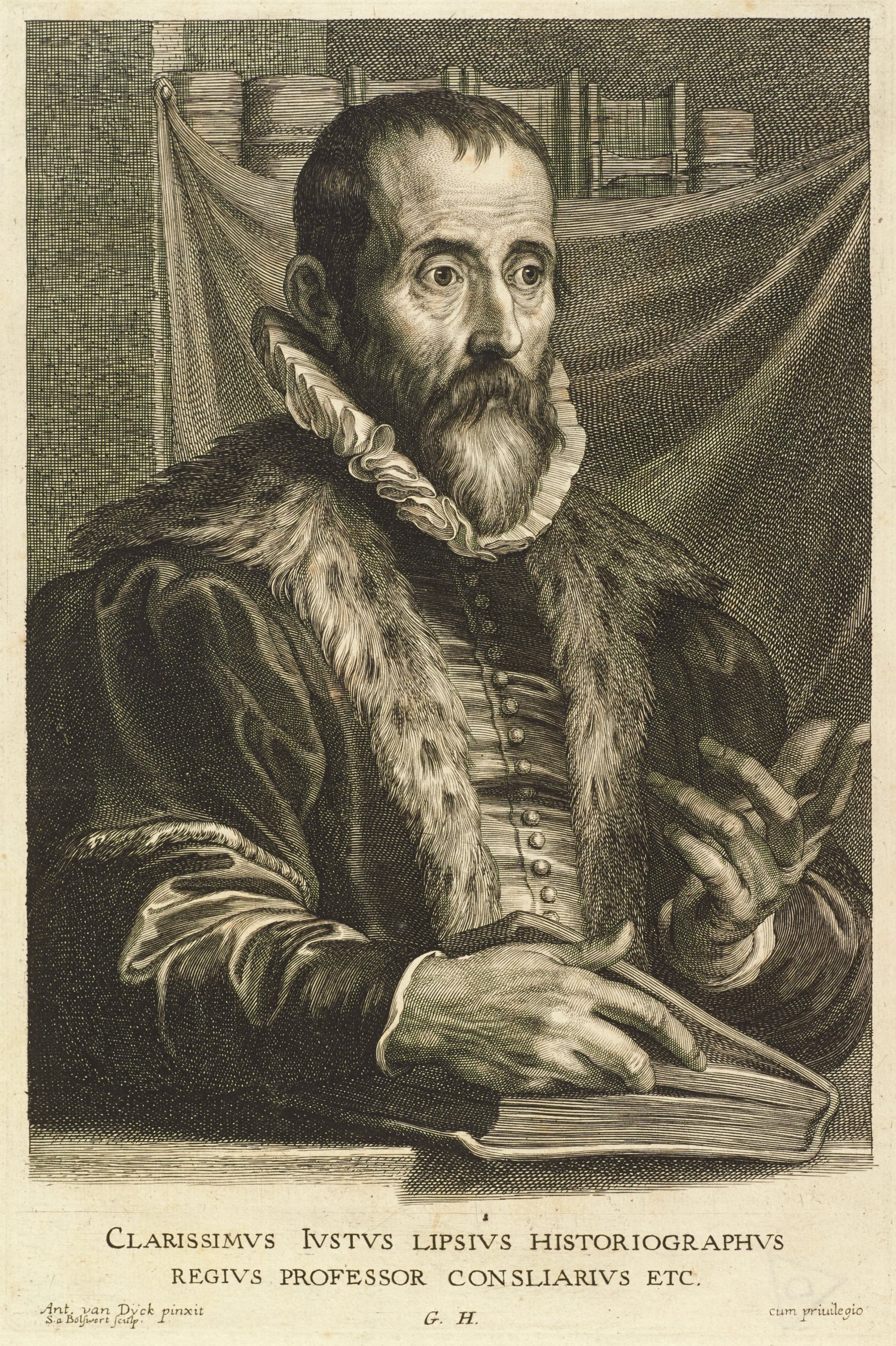 Justus Lipsius was a philosopher. He is seen here in portrait from the waist up, slightly angled to the right, looking away from the viewer. He wears a ruff and a fur lined jacket. His right hand rests inside the cover of a book as he gestures with his left hand. This is from the Gillis Hendricx edition of the Iconography (Icones Principum Virorum Doctorum, Pictorum Chalcographorum Statuorum nec non Amatorum Pictoriae Artis Numero Centum), made between 1632-44.