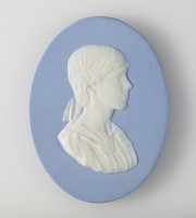 Oval blue jasper medallion with white relief profile portrait of Nancy Wedgwood possibly to celebrate or commemorate a wedding