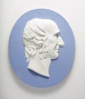 Oval blue jasper medallion with white relief profile portrait of Sir William Hooker (1785-1865), was an English systematic botanist and organiser, and botanical illustrator. He held the post of Regius Professor of Botany at Glasgow University, and was Director of the Royal Botanic Gardens, Kew. He enjoyed the friendship and support of Sir Joseph Banks for his exploring, collecting and organising work. His son, Joseph Dalton Hooker, succeeded him to the Directorship of Kew Gardens.