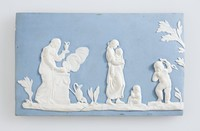Rectangular blue jasperware half plaque featuring a putto, figure from the domestic employment series and other classical figures. a later copy of a Wedgwood plaque