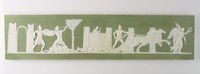 Long rectangular green jasper plaque with white relief scene of Achilles dragging Hector around the walls of Troy, with warriors battling, Achilles driving a two-horse chariot, and winged female figure holding wreath