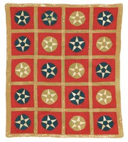 Five-Pointed Star in Circle quilt, stars in blue and green circles, red background