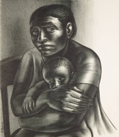"""This black and white image represents an African American woman holding a young African American boy. She is sitting in a chair wearing a short-sleeved, loosely fitting garment. She looks out of the left side of her eyes, toward the viewer. In the lower left corner of the image along the chair there is text: """"Wilson '52."""" Below the image text written in graphite in the lower left corner reads: """"8/50 'Mother and Child',"""" and below the image text written in graphite in the lower right corner reads: """"John Wilson 1952."""""""