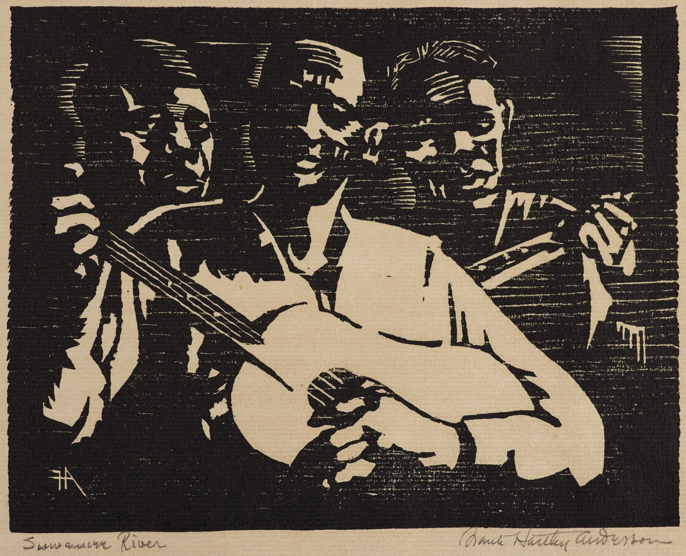 Three black men playing music. In the center foreground, a man plays a guitar, picking it with his proper left hand and holding its neck with his right. At left, a second man's head is visible over his shoulder.  At right, a third man plays what could be a guitar or a banjo, though we see only his head and his left hand fretting the instrument's neck.