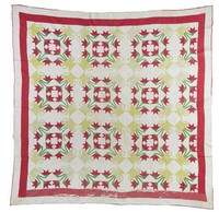 Carolina Lily quilt, red flowers in yellow pots, red and white borders
