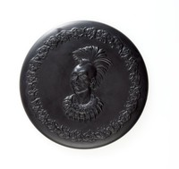 Round, framed basalt plaque of Chief Blackhawk facing left, Sauk and Fox Tribe, 1767-1838, The First Americans series