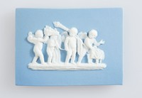 Rectangular blue plaque with white relief scene of marriage of Cupid and Psyche, in wood frame