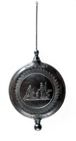 Wedgwood black basalt clock pendulum featuring a variation of a cupid representing summer to one side and an offering to the other in a border of leaves.