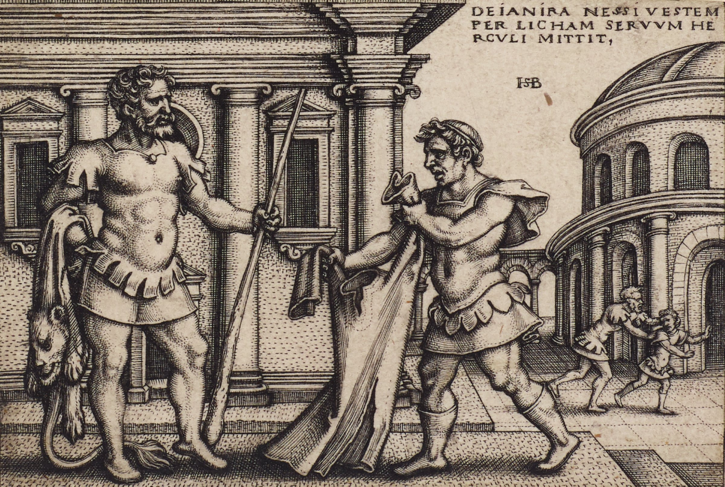 On the left, Hercules stands with a staff in his left hand and a lion's skin draped over the right arm. On the right, Lichas walks towards Hercules holding out Nessus's robe to him.