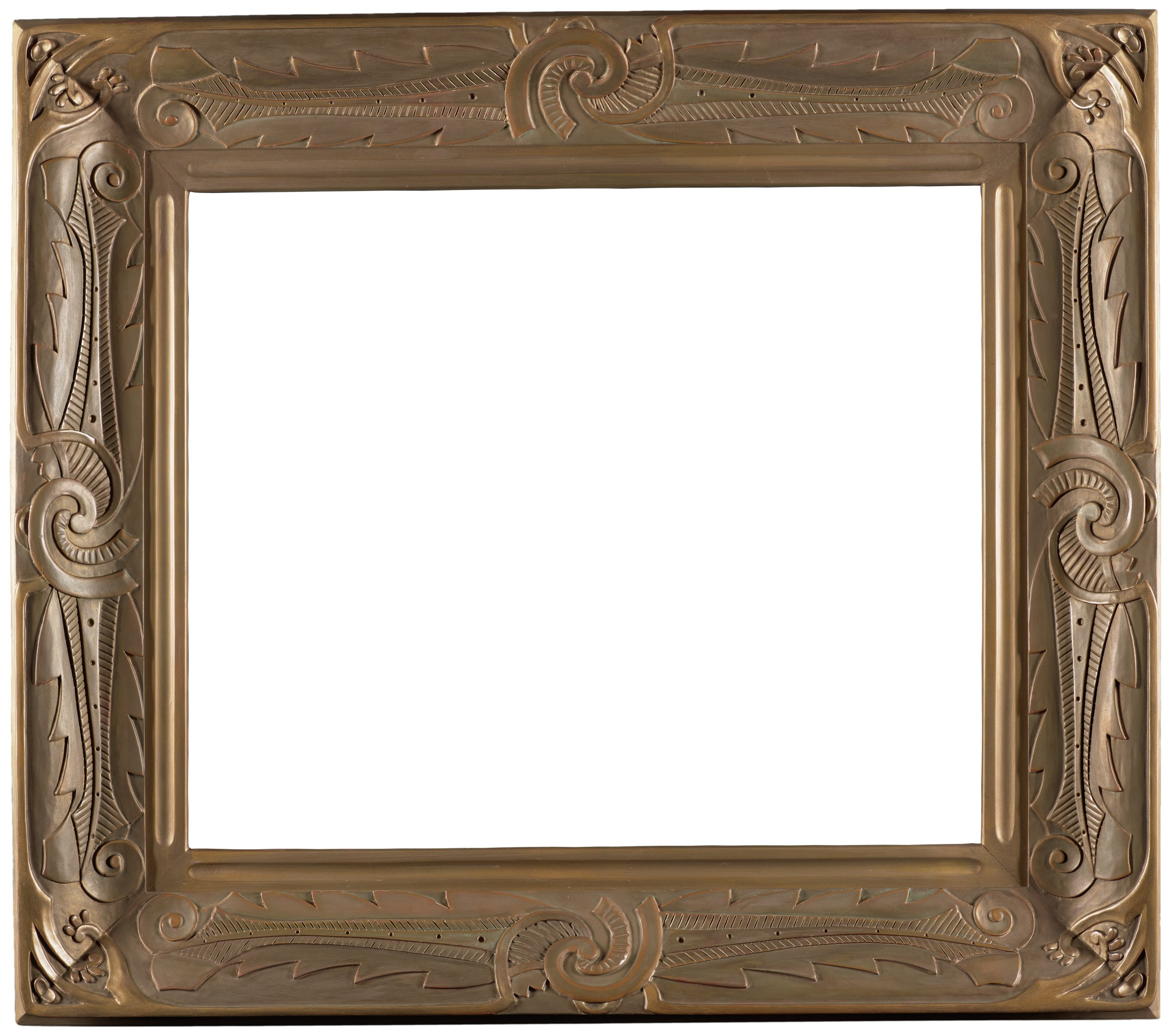 """Hand-carved wooden frame in the so-called """"whirlwind"""" pattern. According to Virginia Couse Leavitt, the artist's granddaughter, his earliest frame design """"incorporates a scroll (whirlwind) at the center of each side, from which a barbed feather motif extends to the corners."""""""