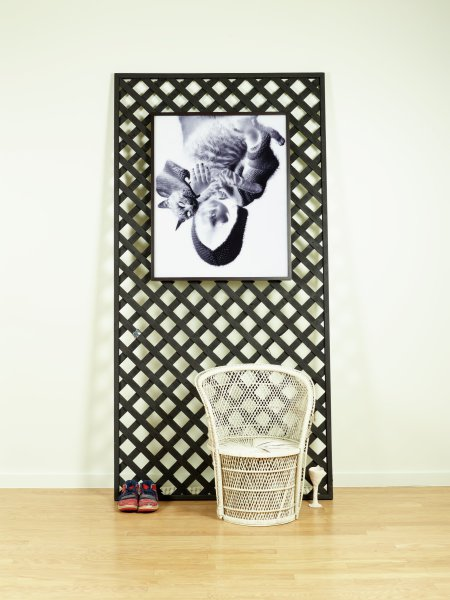 A sculptural installation that comprises a 4 x 8 foot section of commercial lattice, painted flat black and leaned vertically against the wall. A large framed black and white photograph hangs on the lattice; its image (of a girl and a kitten) is printed in negative. Placed on the floor in front of the lattice are a pair of sneakers, an unglazed ceramic goblet, and a wicker chair that has been painted white.