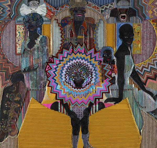 Painted and collaged composition made with corrugated board that is overlayed with different boards, papers, and cut-out elements. The composition is of a black family surrounded by dense, geometric pattern. The central top figure is a man in what appears to be a ceremonial hat. The central, frontal figure is a child whose face is surrounded by radiating patterns of geometric design.