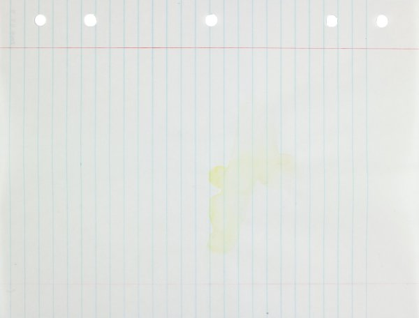 Abstract form in yellow applied to center of paper, gray lines radiate from center
