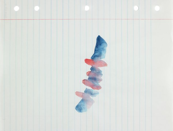 Polychrome (blue and red) in abstract form applied to center of paper