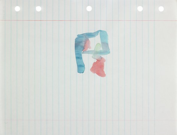 Polychrome (blue, red, and green) in abstract form apllied to center of paper