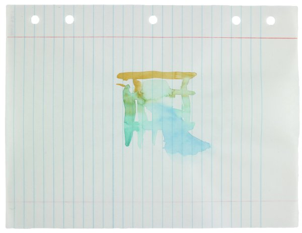 Polychrome (yellow, green, blue) watercolor applied in abstract forms to center of paper, recto
