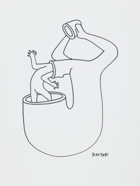 Black line drawing of a stylized figure standing in a vessel with its body bent forward and head in a tube.