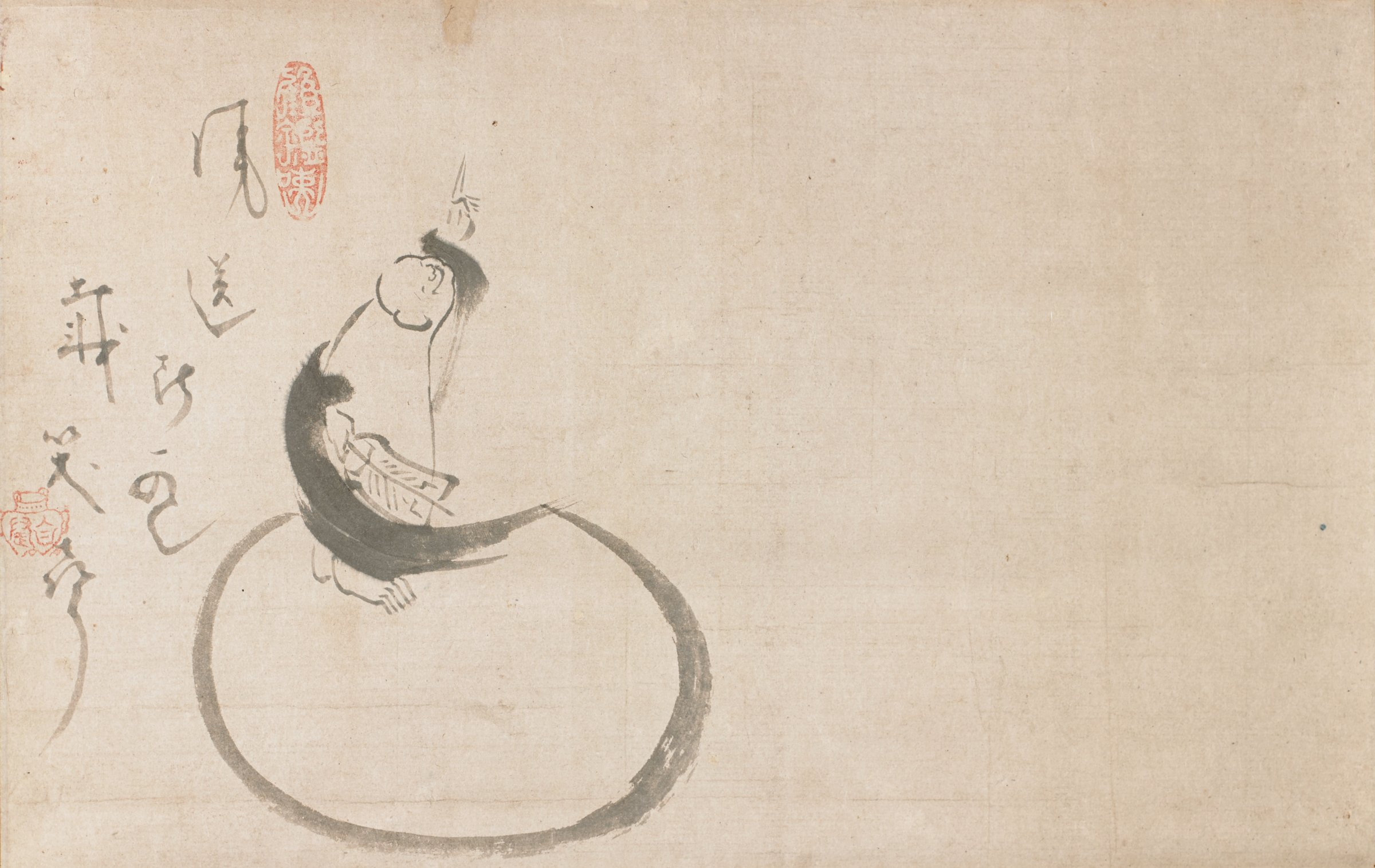 The jolly rotund figure of Hotei pointing at the moon. His bag is to his left.