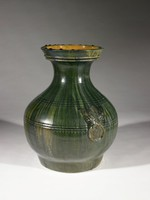 A classic large green glazed Hu of the Han dynasty with appliquéd ring handles on each side