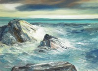 Seascape with waves cresting against rock formations at left; clearing sky in the background
