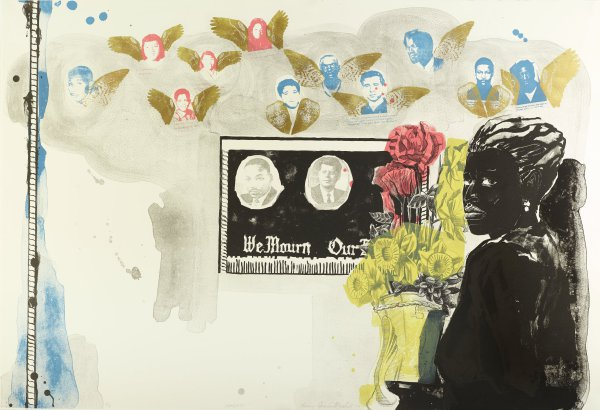 Memento, Kerry James Marshall, Published by Tamarind Institute, Printed by Ross Zirkle, six-color lithograph with gold powder