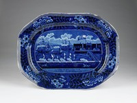 """Octagonal platter depicting the """"Landing of Gen. LaFayette at Castle Garden New York 16 August 1824,"""" with printed title and floral border"""
