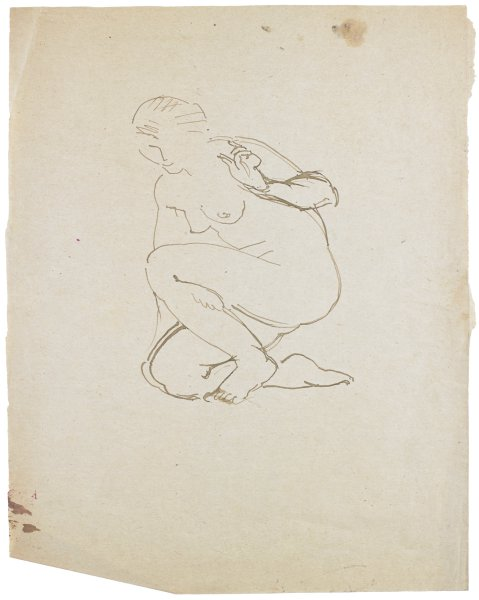 Sketch of a nude female. She crouches down and smiles. Her right hand touches the ground as her left hand raises up and makes a gesture.