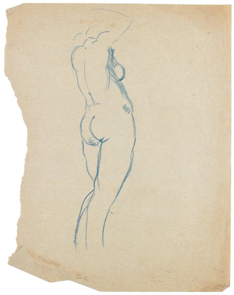 Sketch of a nude female. She is turned mostly away from the viewer. She stands with her weight on her right leg, and her arms are raised over her head.