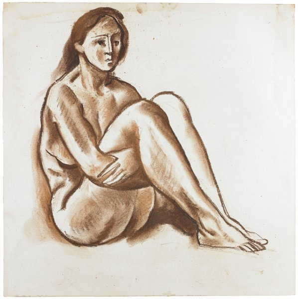 A nude woman sits with her legs folded to her chest. Her arms wrap around her thighs. She looks slightly to the right.