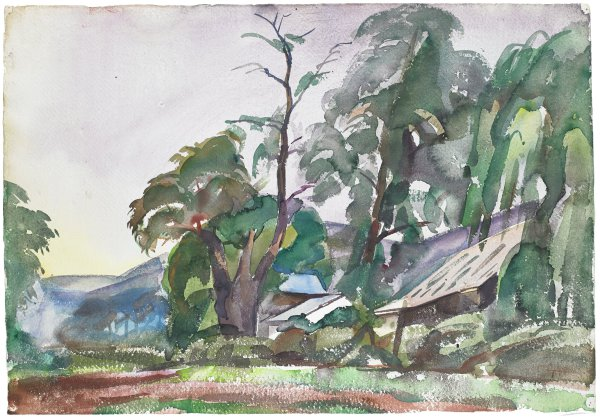 Scene of a house surrounds with trees with a mountain landscape in the background.